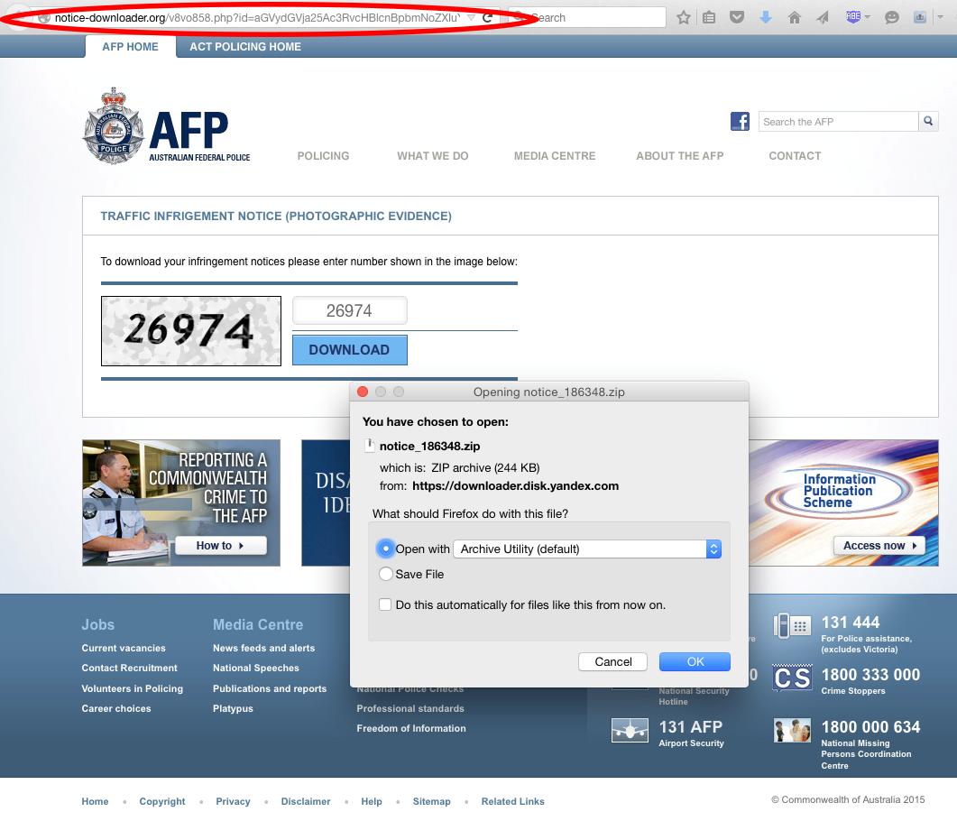 MailGuard AFP Email Scam July 1_Landing Page 1 Screenshot