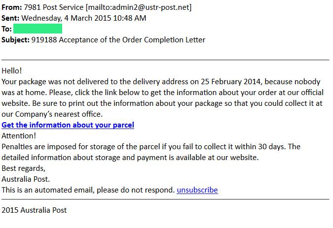 Aus Post Phishing Email