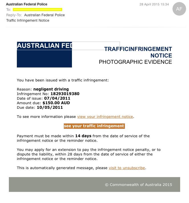 Australian Federal Police Cryptolocker Email