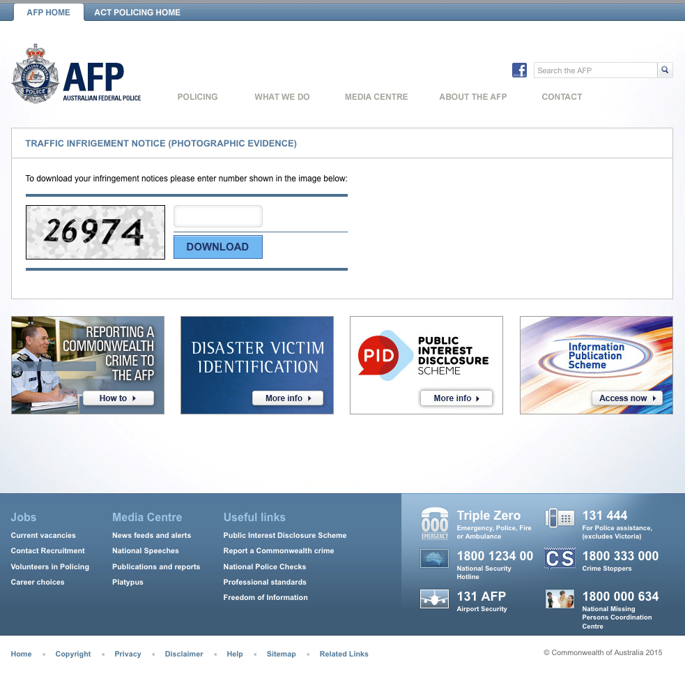 Australian Federal Police Cryptolocker Fake Website
