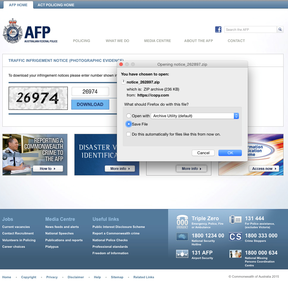 Australian Federal Police Cryptolocker downloadable malware