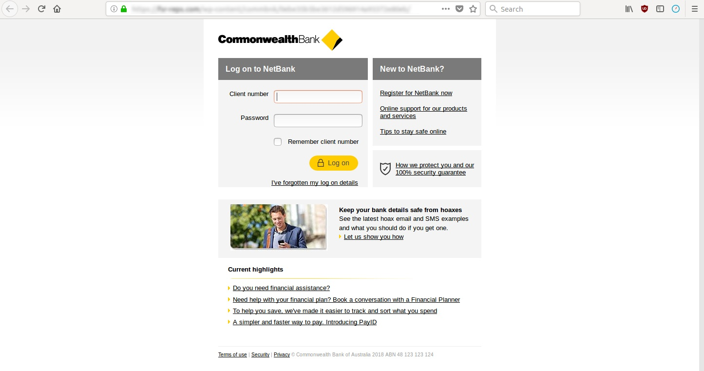 Comm-Bank scam: fake email links to phishing site
