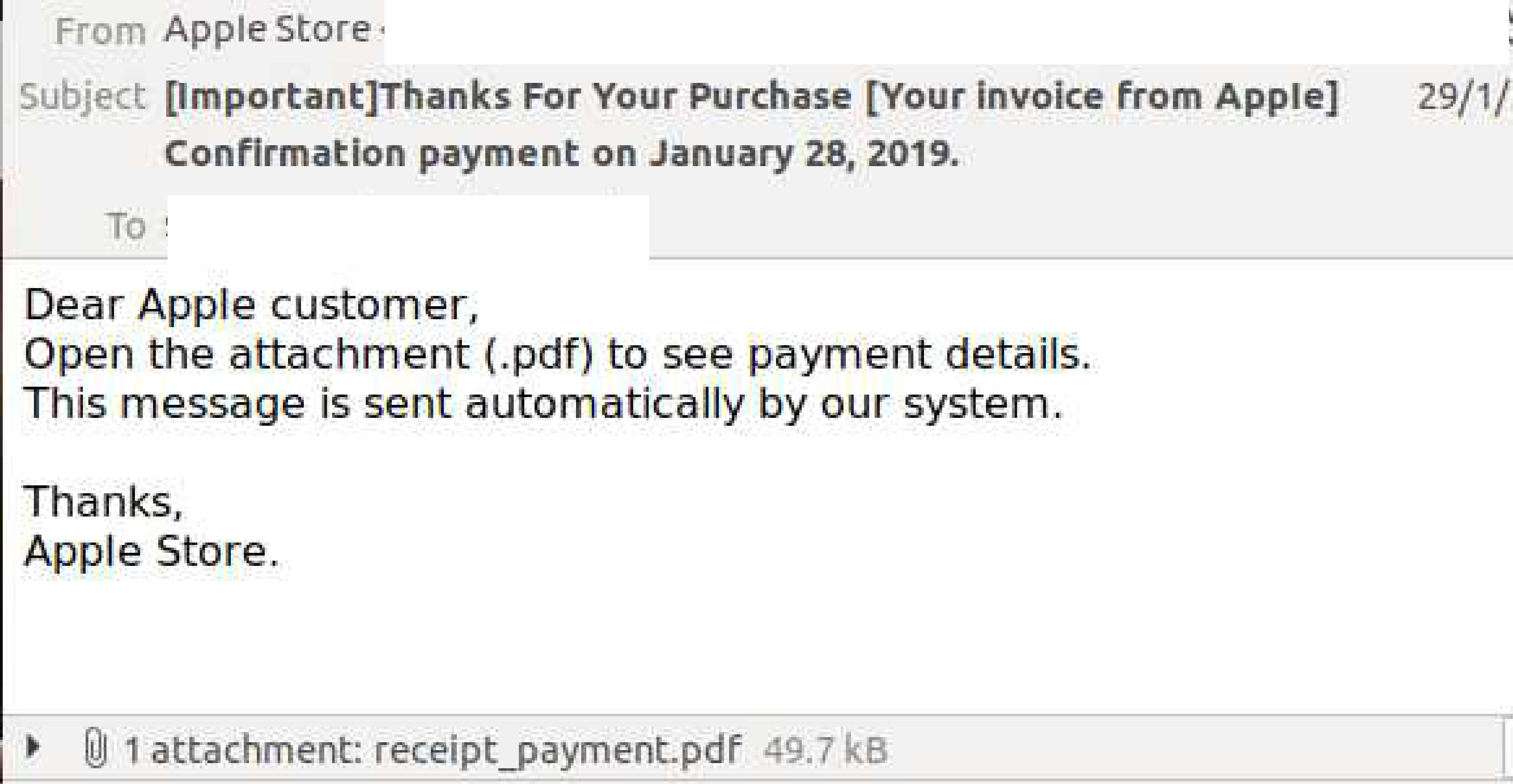 Phishing email uses fake Apple Store branding to trick users