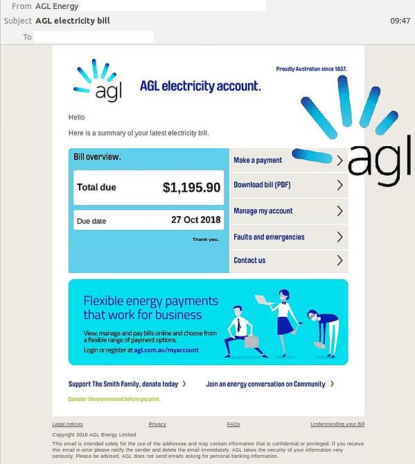 AGL Electricity Bill Scam