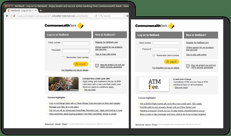 CBA phishing scam_login comparison Oct 4.png