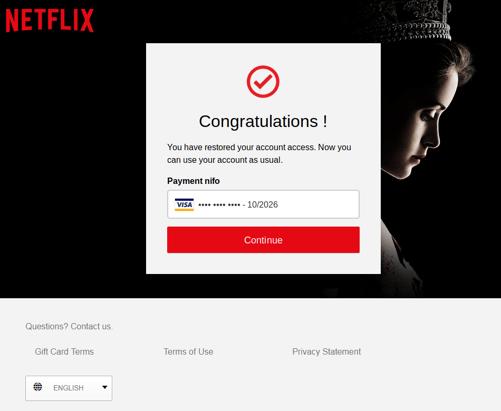 Netflix Scam final page