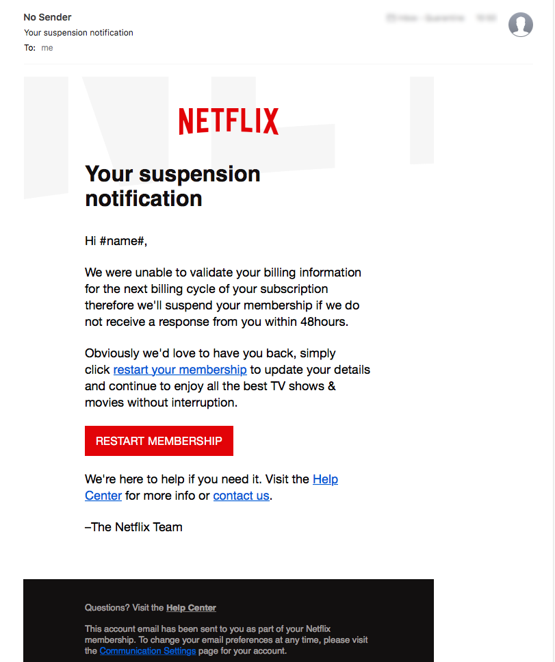 Do NOT Click On This Email From 'Netflix'