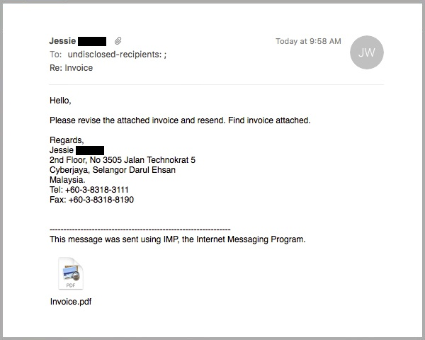 Fraudulent Invoice Email Carries An Adobe Id Phishing Pdf Attachment