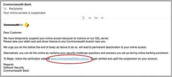 Don't Fall For This Commonwealth Bank Email Phishing Scam