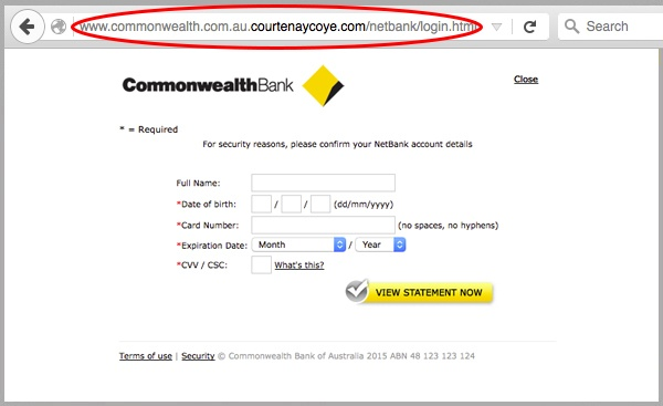 Commonwealth Bank 'New Statement' Online Phishing Scam