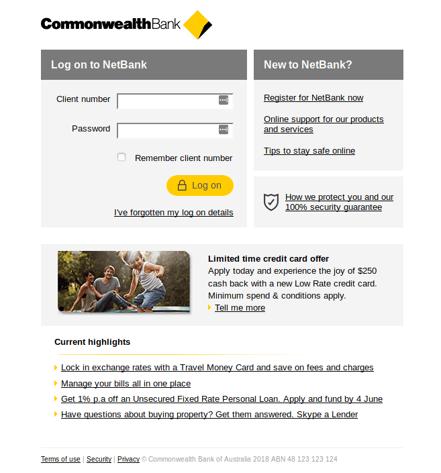 COmmBank phishing page