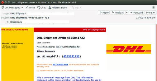 Fake parcel scam mimics DHL shipment notification as email