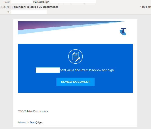 DOcusign, Telstra scam