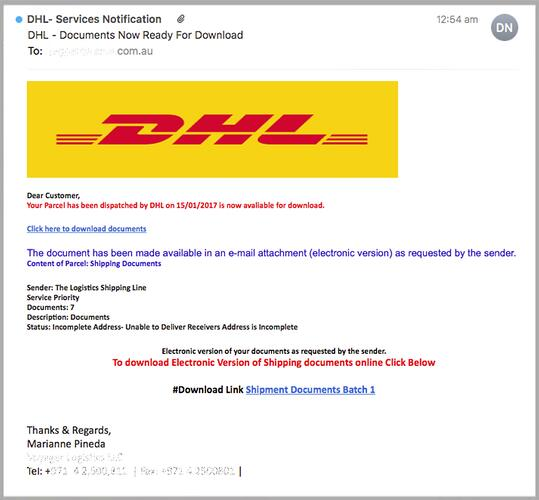 Fake parcel email scam mimicking DHL does the rounds