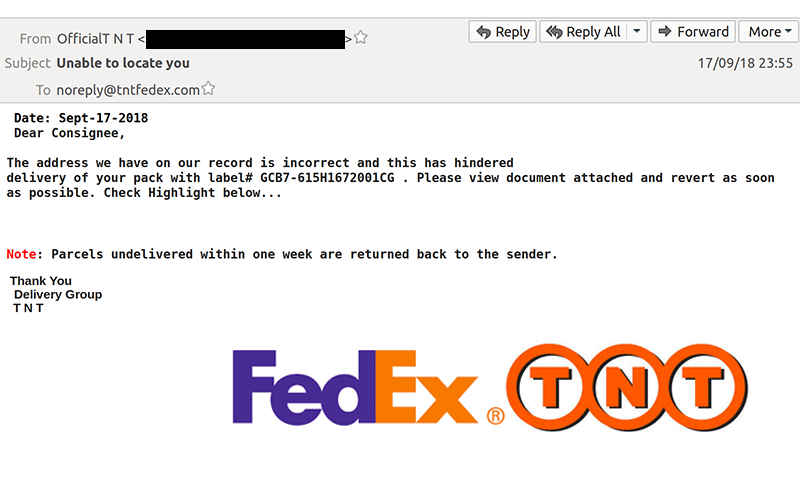 Do not open: FedEx TNT email scam claims 'Unable to locate you'