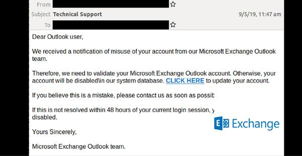 Generic exchange phishing email