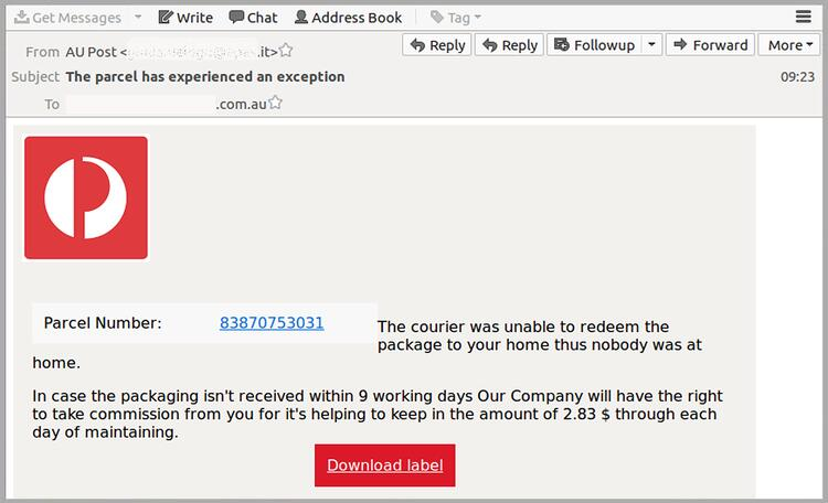 Mistakes let down new malware phishing email impersonating Australia Post MailGuard.jpg