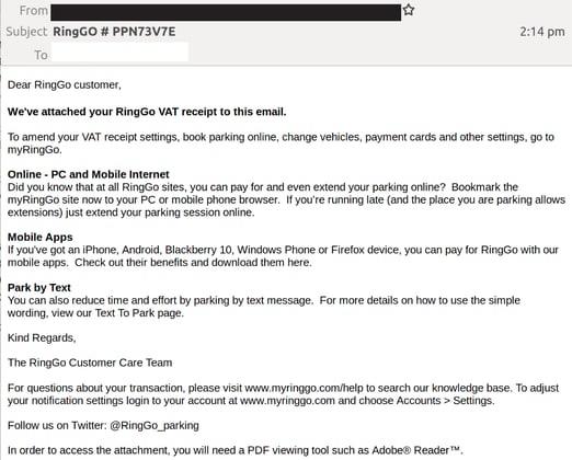 Ringo email scam edited 3