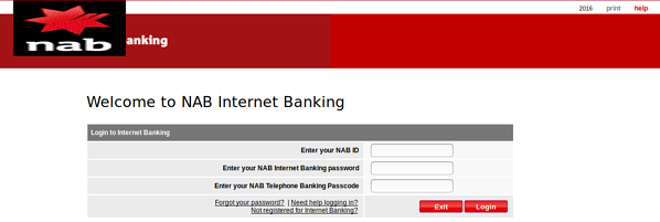 NAB scam page