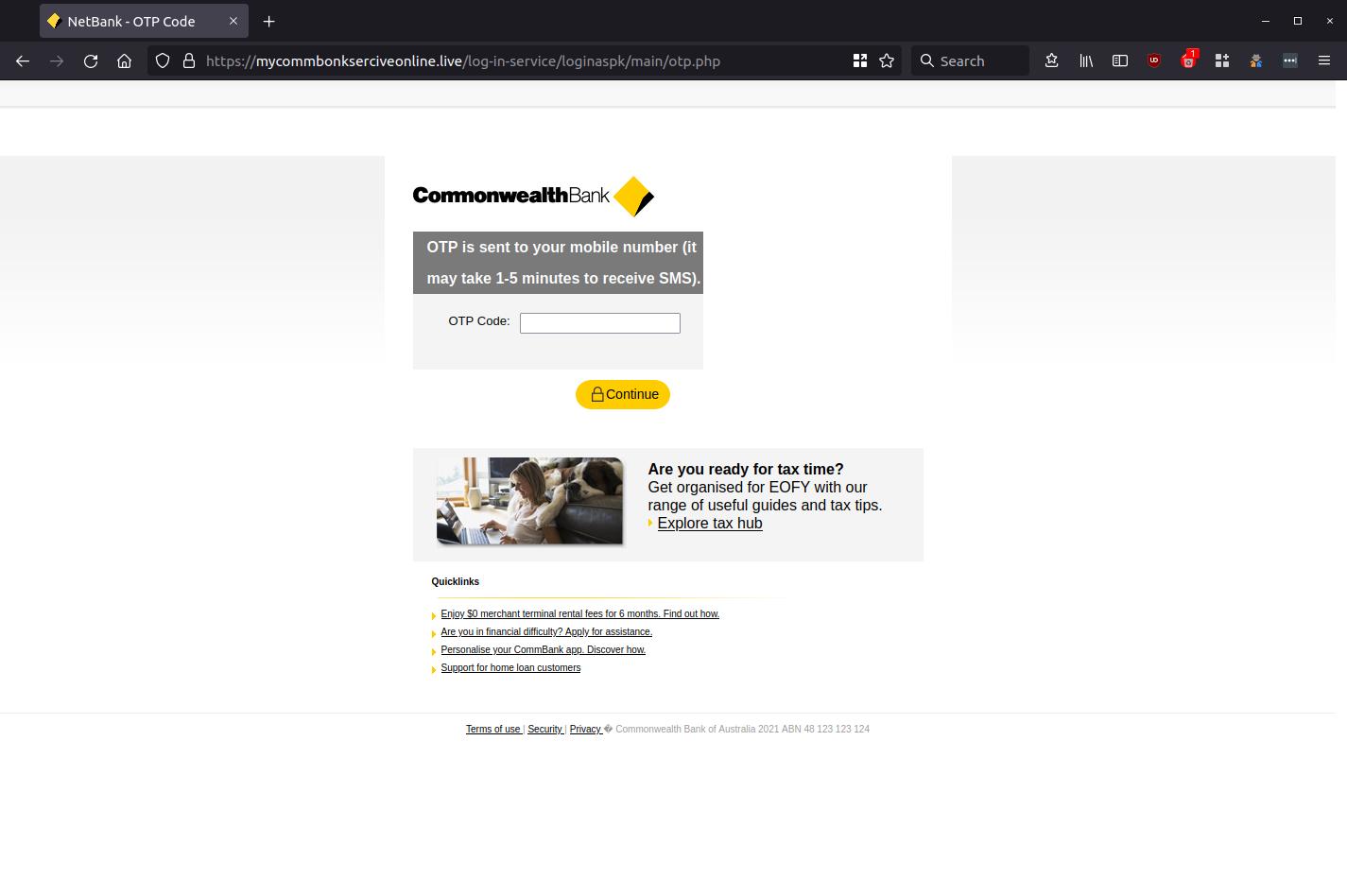 NetBank - OTP Code — Mozilla Firefox_664