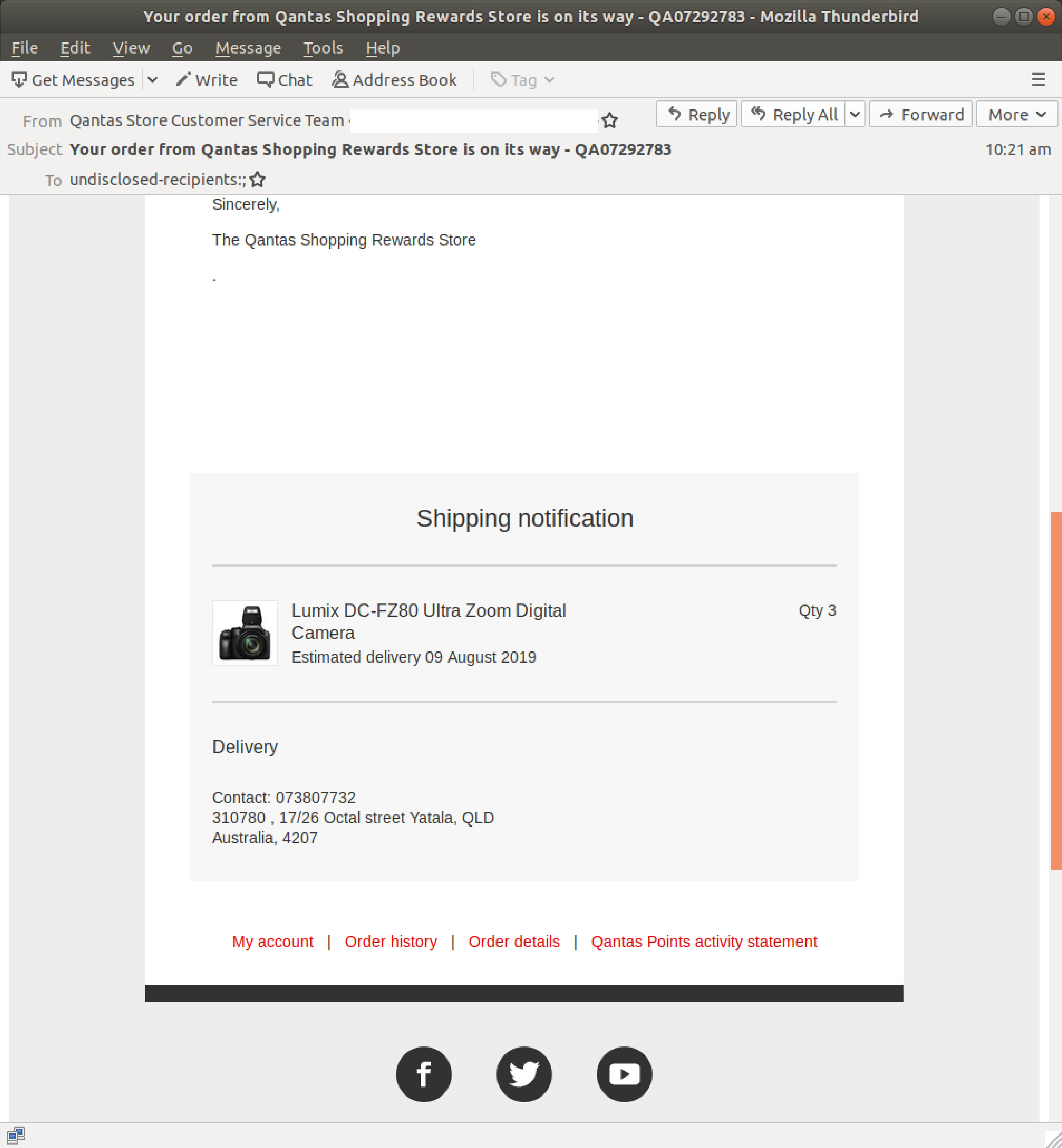 Phishing scam disguised as Qantas Shopping delivery email