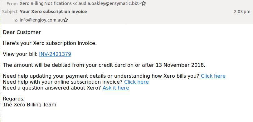 Xero Email Scam