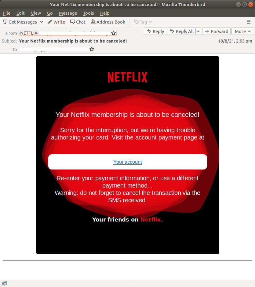 Your Netflix membership is about to be canceled! - Mozilla Thunderbird_639