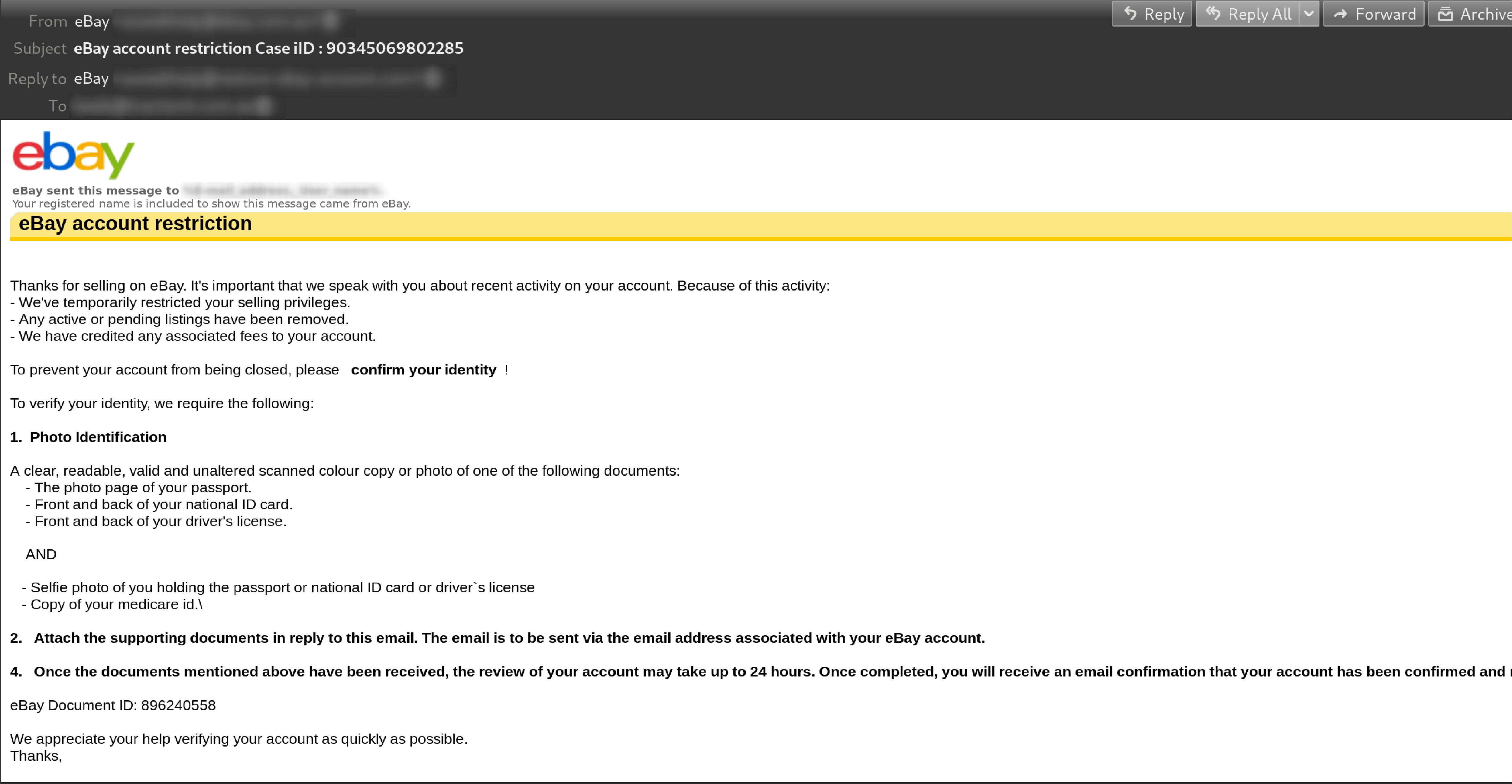 ebay phishing email social