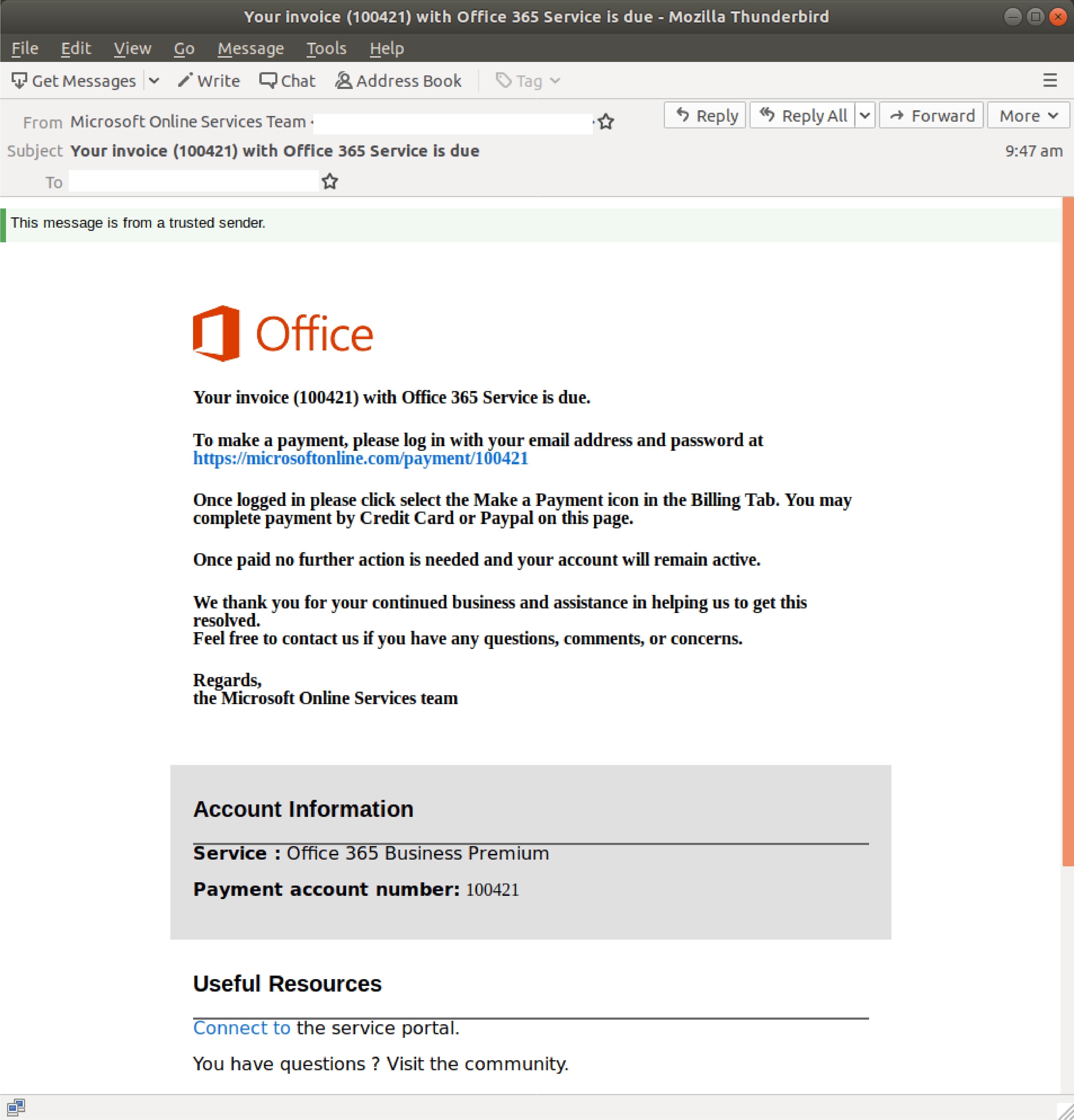 Think Twice Before Paying This Invoice Supposedly From Office 365