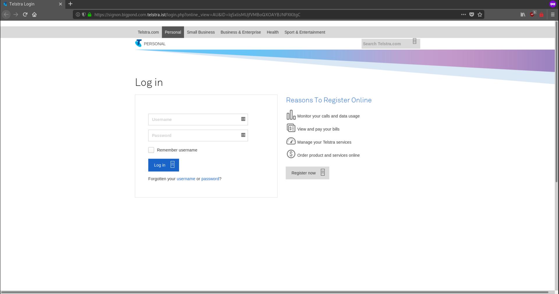 telstra phishing page 1510