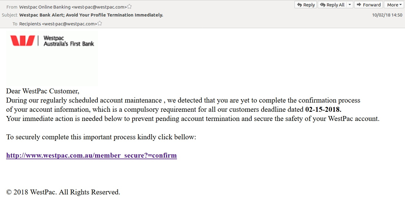Fake Westpac email links to phishing site