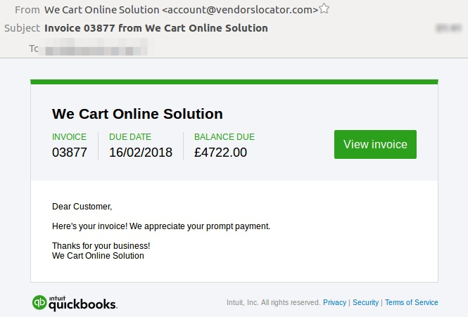 Malware linked from fake Quickbooks email