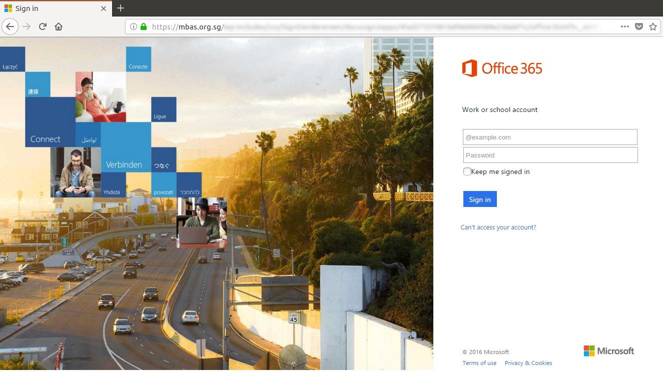 microsoftonline365 Phishing attack exploiting Office 365 branding on fake login page
