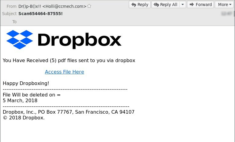 MailGuard has intercepted a new zero-day email scam exploiting Dropbox branding.