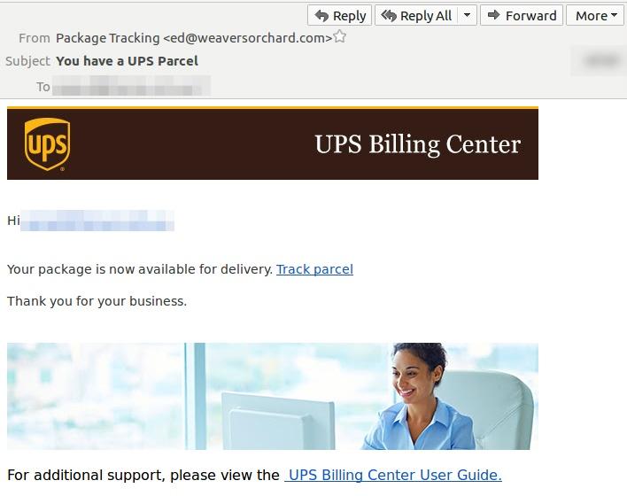 Scam alert: fake UPS phishing email