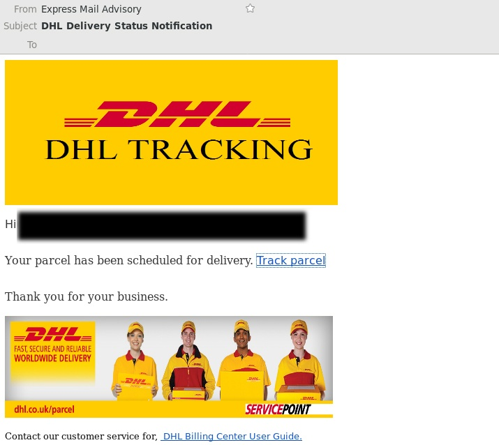 This is not a real DHL email - it's a scam