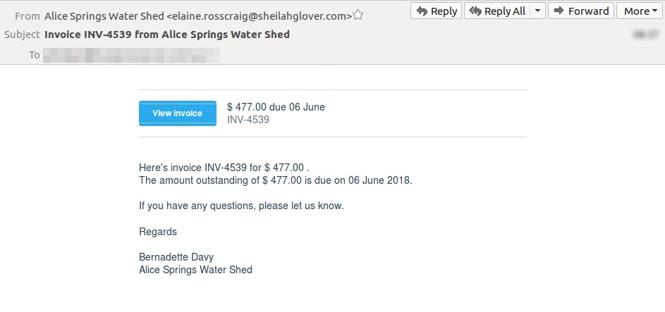 email scam uses fake invoices to send malware