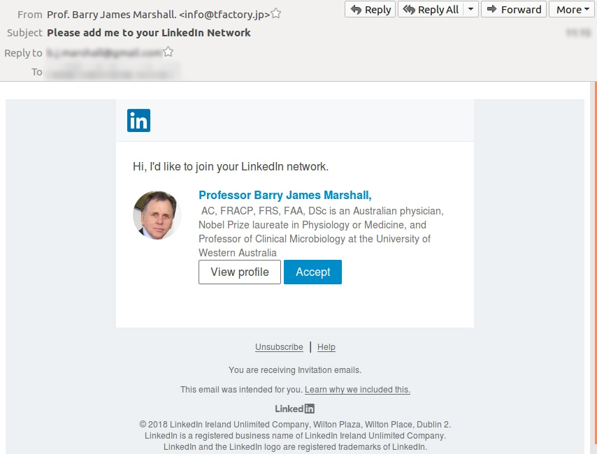 Fake LinkedIn network request is a phishing scam