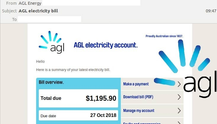 New email scam alert: Brandjacked AGL Electricity bill is a fake