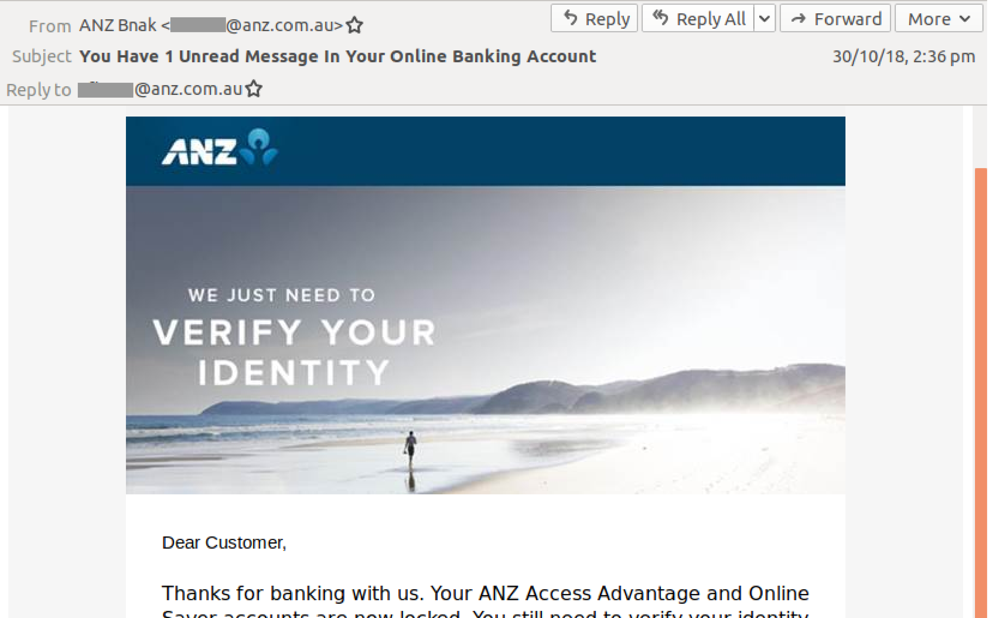 ANZ Edited Email Scam