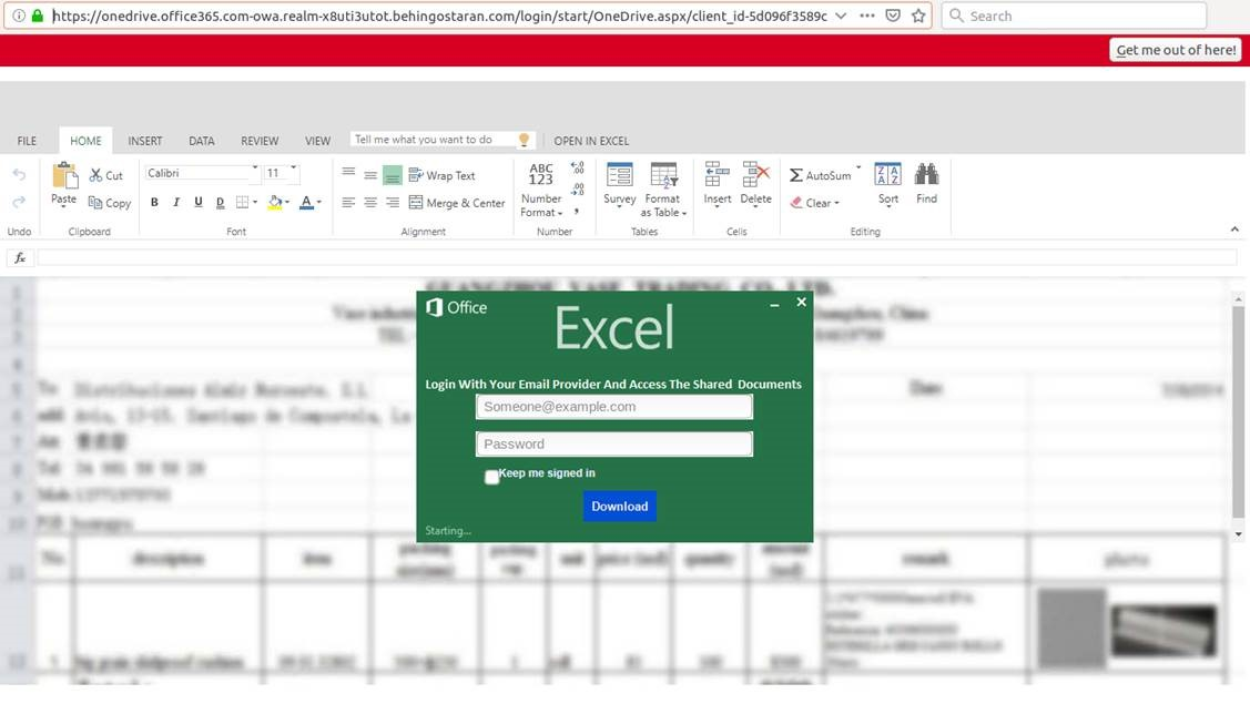 Watch Out Bsc Report Email Links To Excel Branded Phishing Page