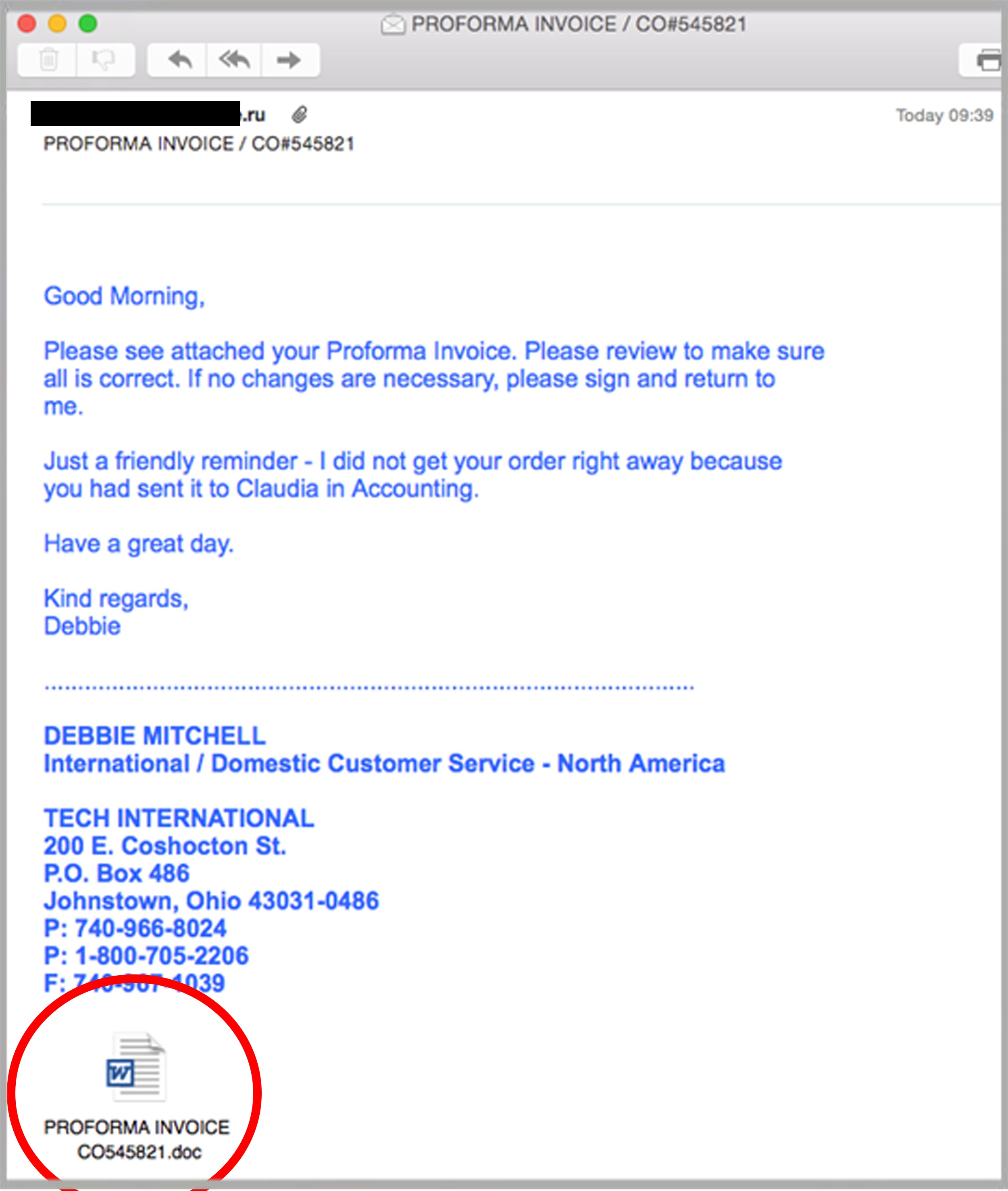 A Sophisticated Fast Breaking Payload Email Identified By MailGuard Today  Exploits A Bug In Unpatched Versions Of Microsoft Office.  How To Email An Invoice