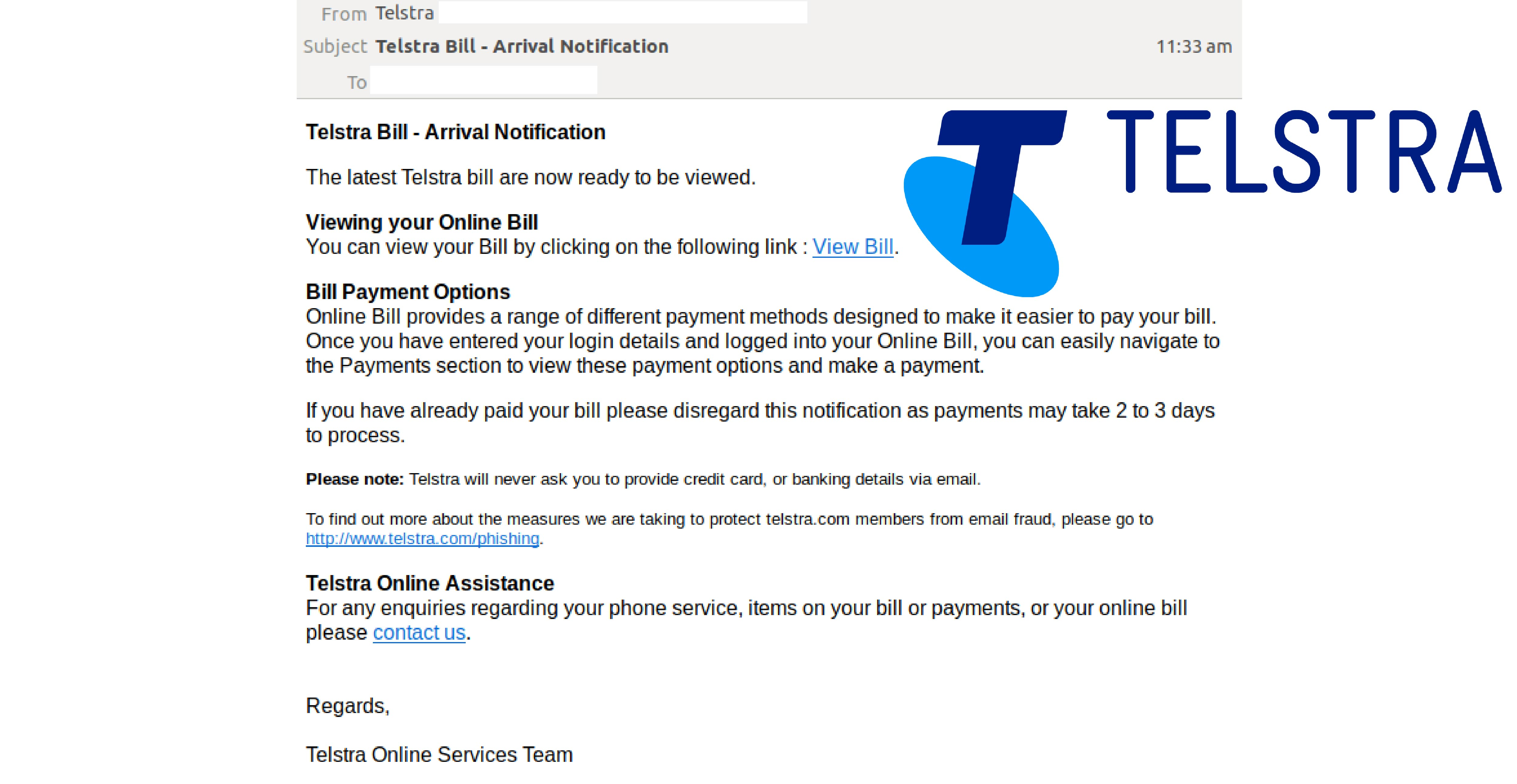 Telstra Email Scam Social Image