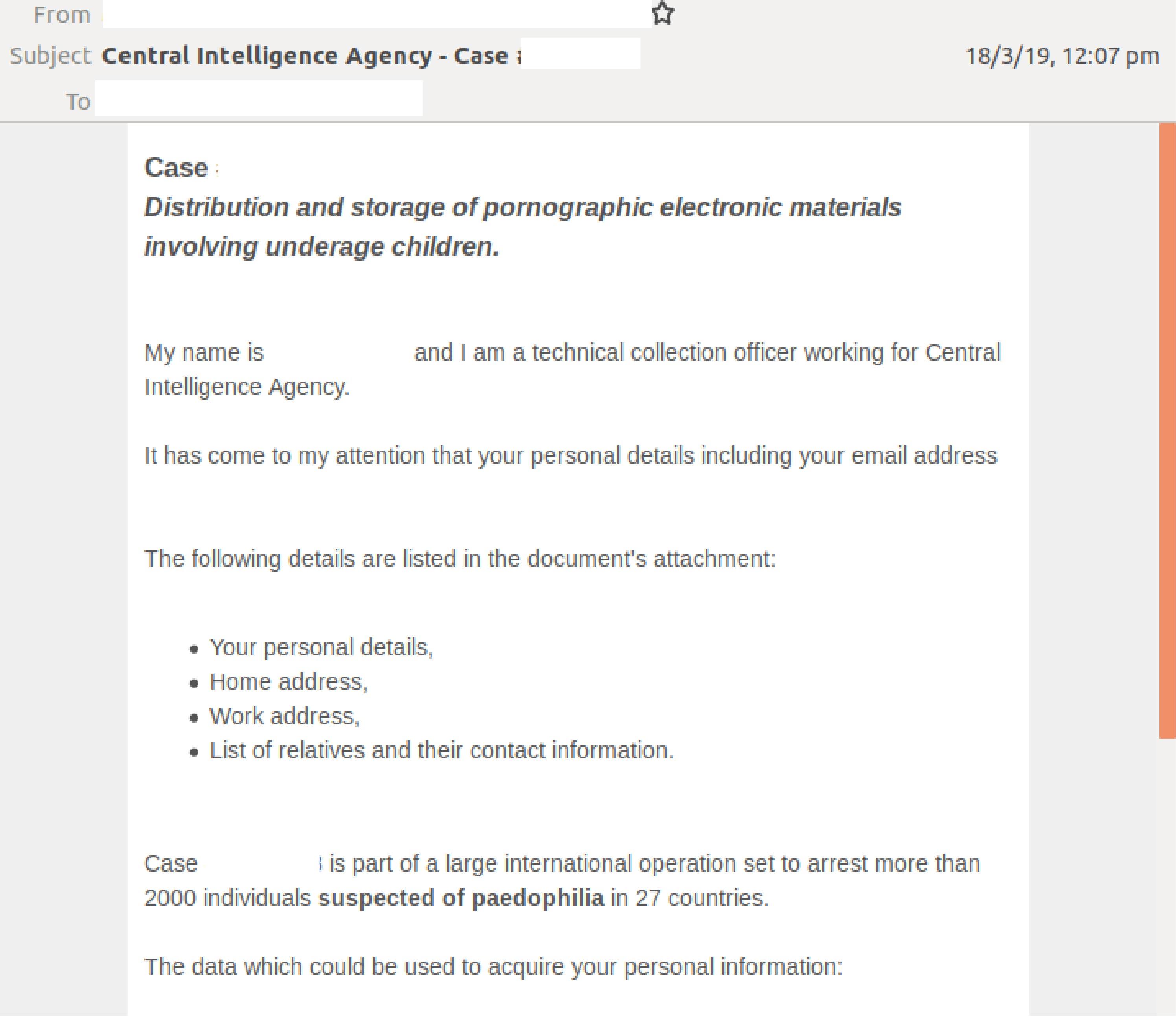 CIA scam social image