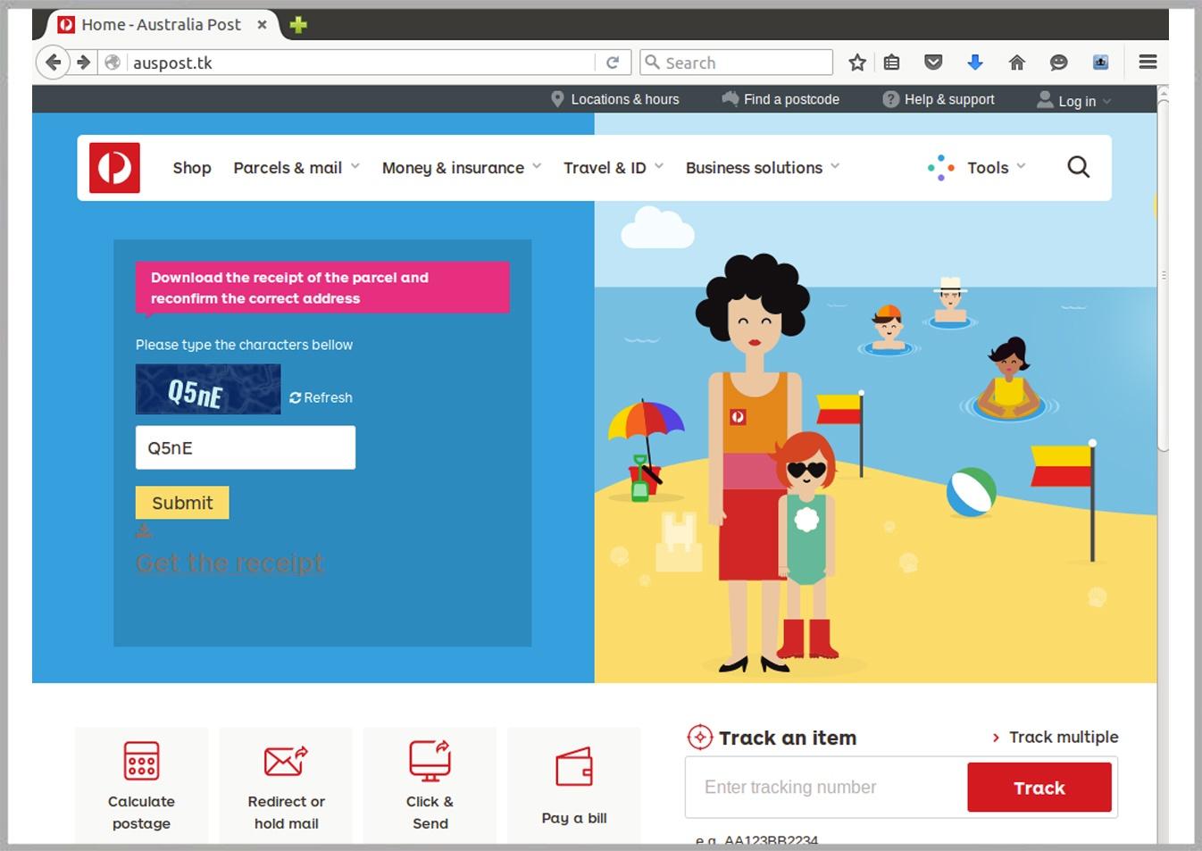 Cybercriminals replicate Australia Post website in