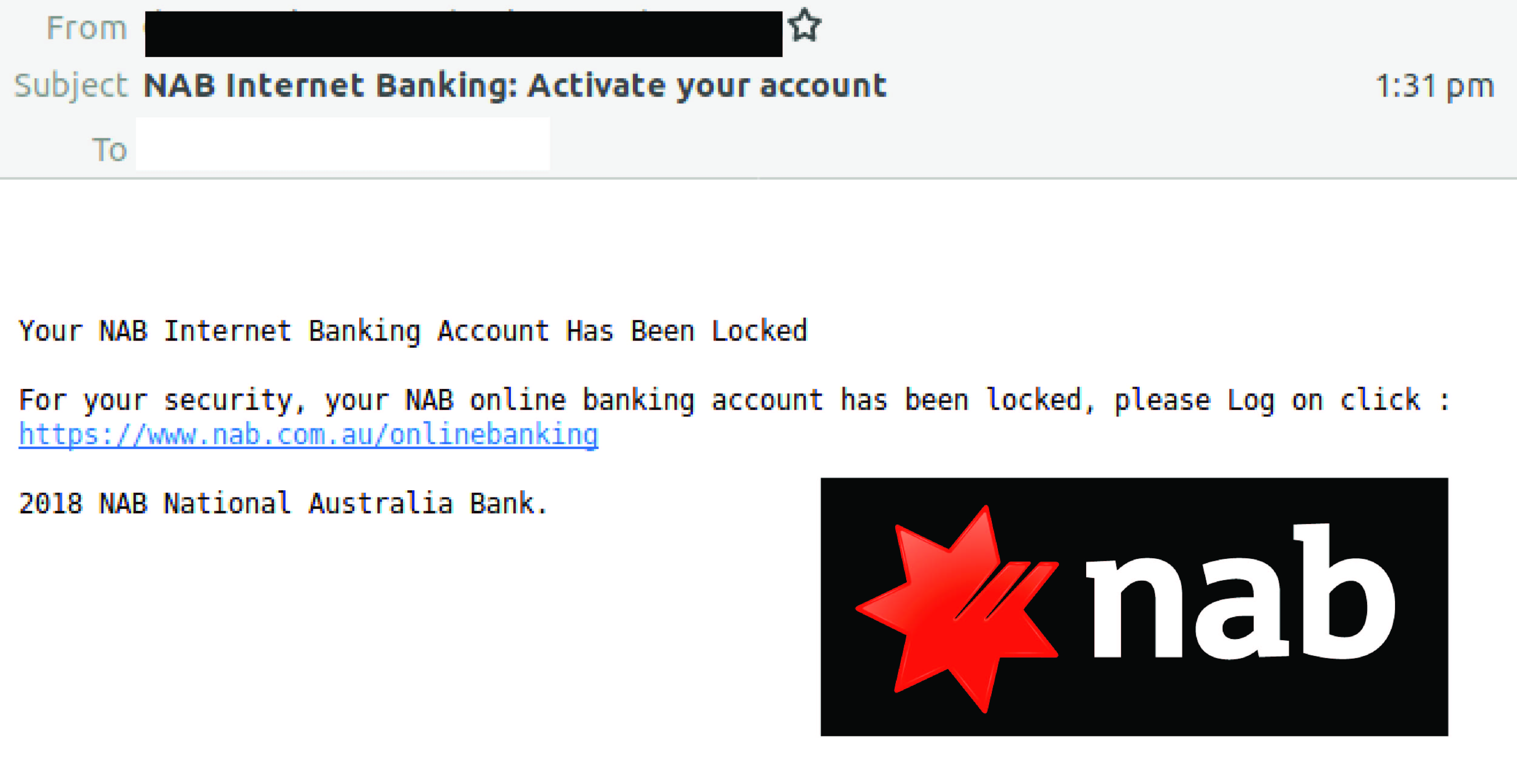 NAB email scam social image