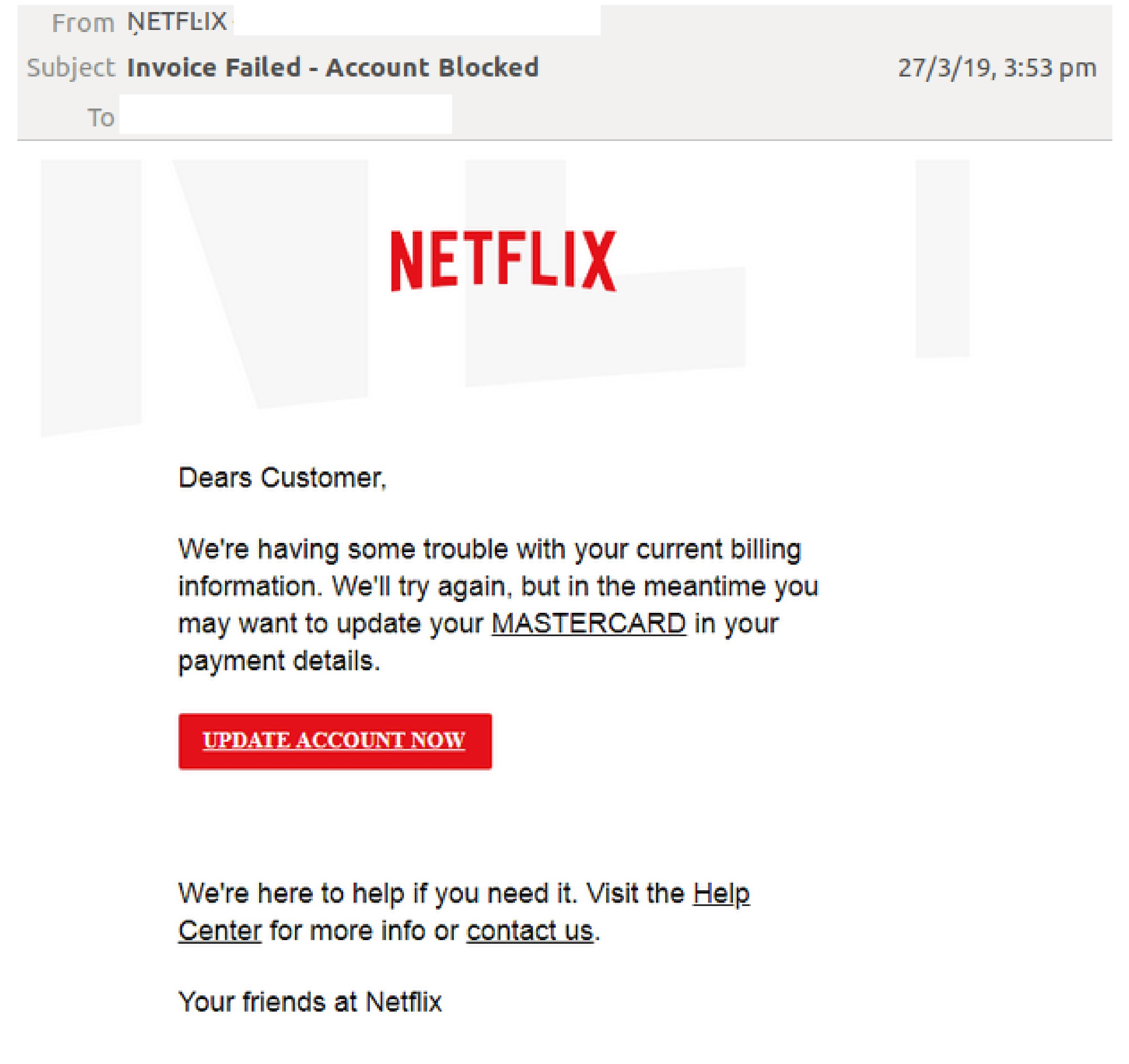 Netflix spoofed once again in phishing email scam