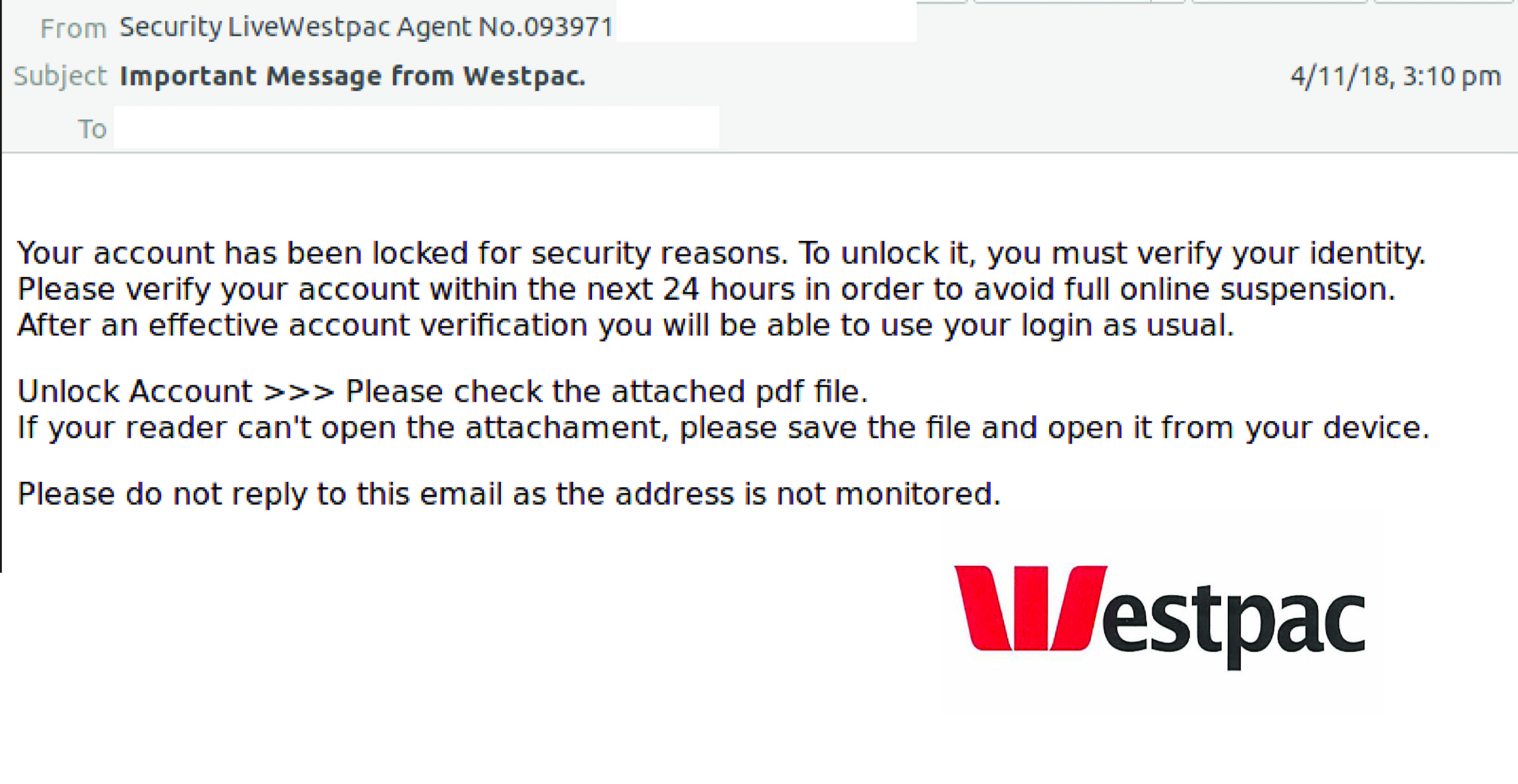 WestPac Email Scam