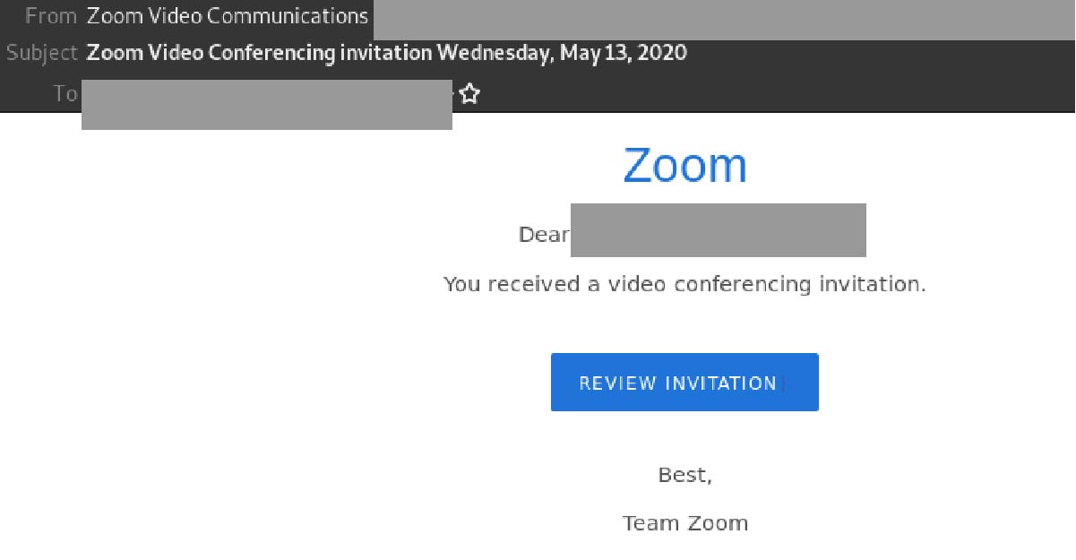 Watch Out This Zoom Video Conferencing Invitation Is Actually A Phishing Email Scam